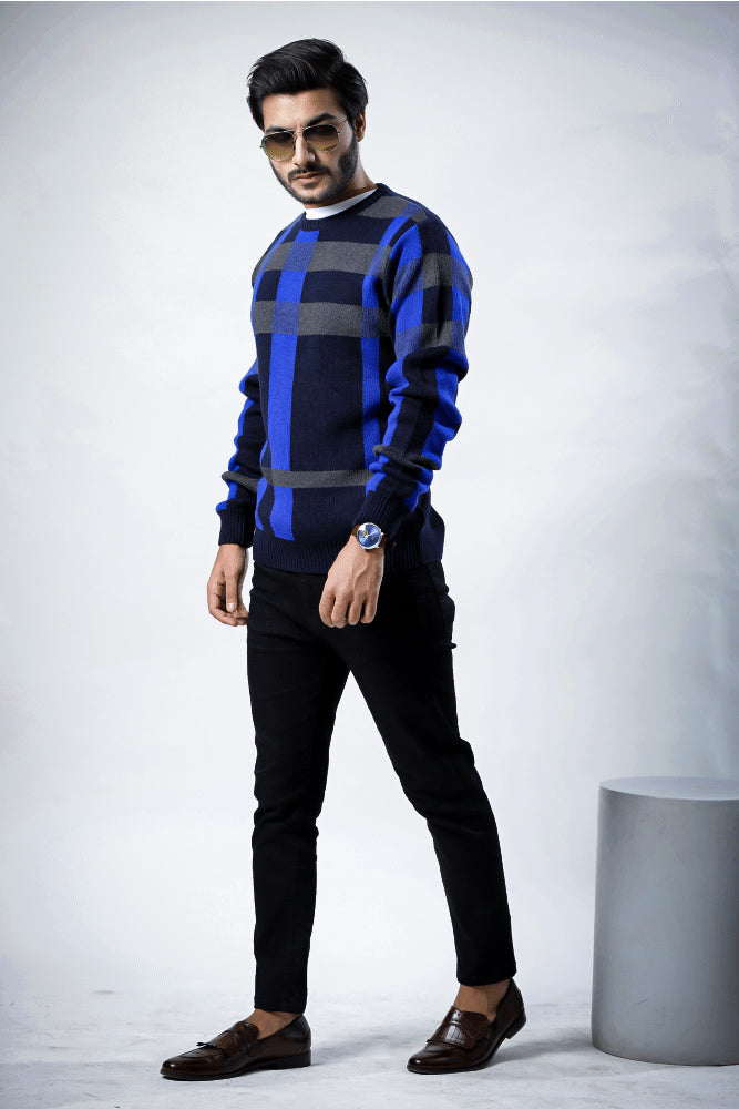 Round Neck Check Blue Sweater