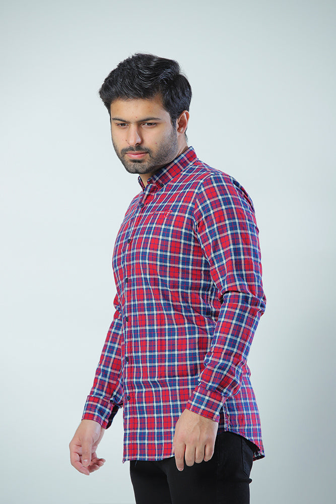 Red & Blue Casual Check Shirt