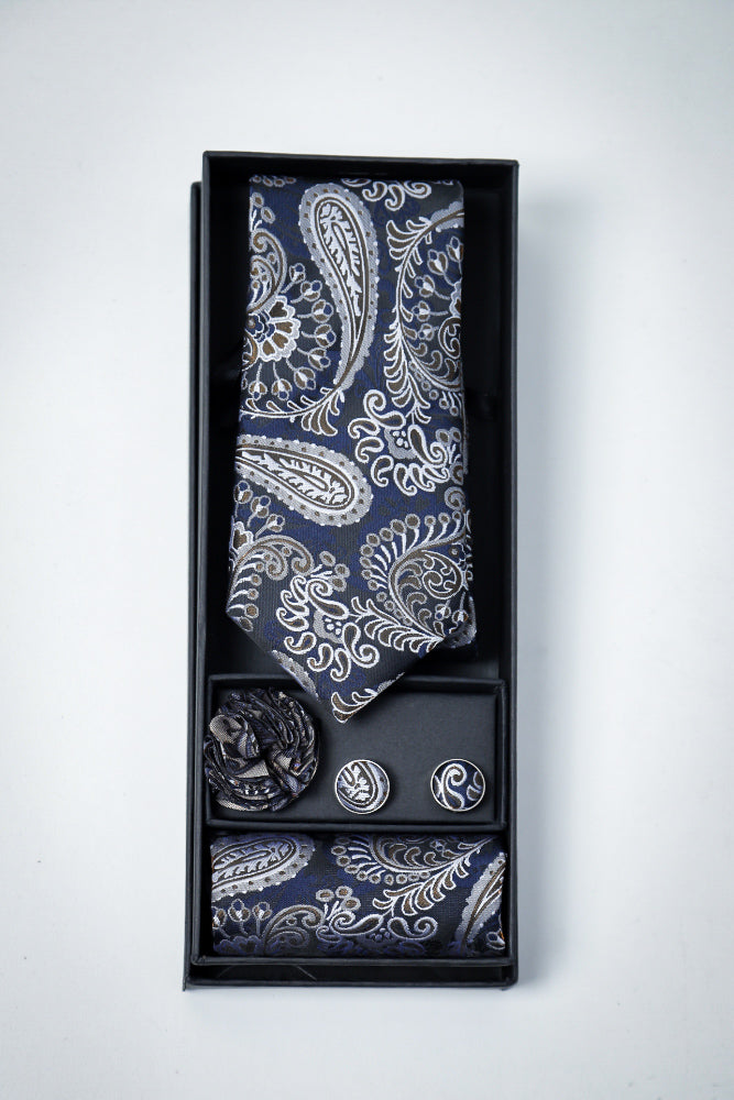Hand Made Tie set Blue Brown Paisley