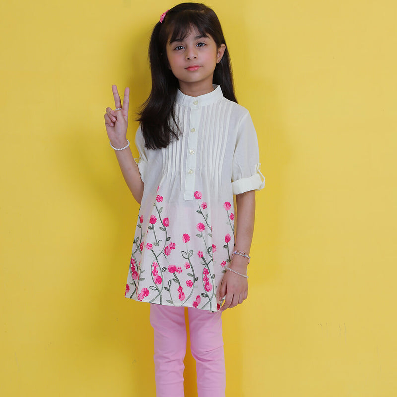 Floral Embroidered Top - Mini Girls