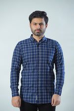 Blue Grey Casual Check Shirt
