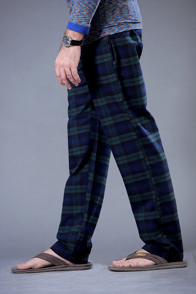 Navy Green Check Flannel Trouser