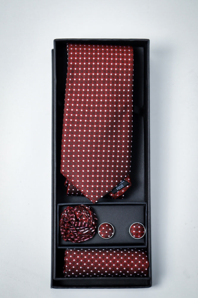 Hand Made Tie set Maroon Dotted