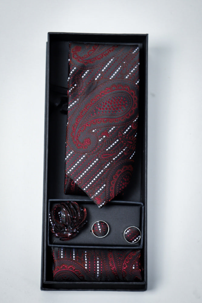 Hand Made Tie set Black Maroon Paisley