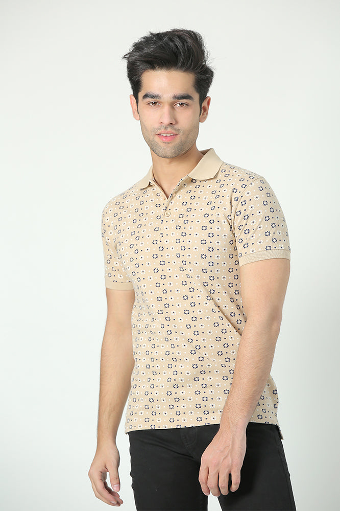Beige Printed Polo