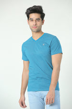 Turquoise Pleated V Neck Tee