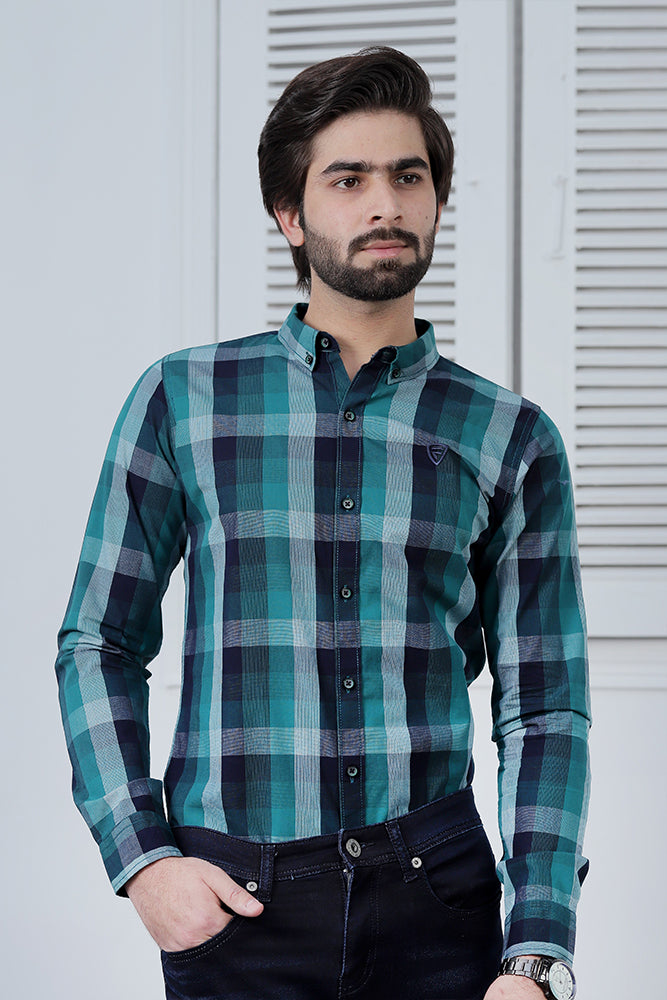 Turquoise Blue Check Shirt
