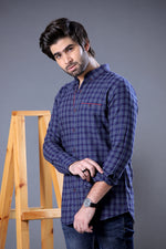 Bluish Grey Check Shirt