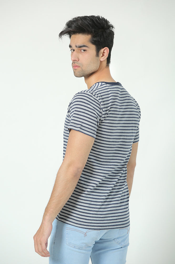 Blue Grey Striper Tee