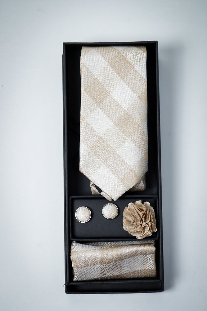 Hand Made Tie set Beige Check