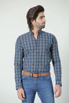 Blue Grey Check Casual Shirt