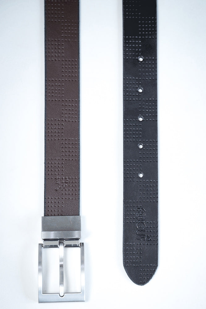 Reversible Dress Belt  Grid Texture