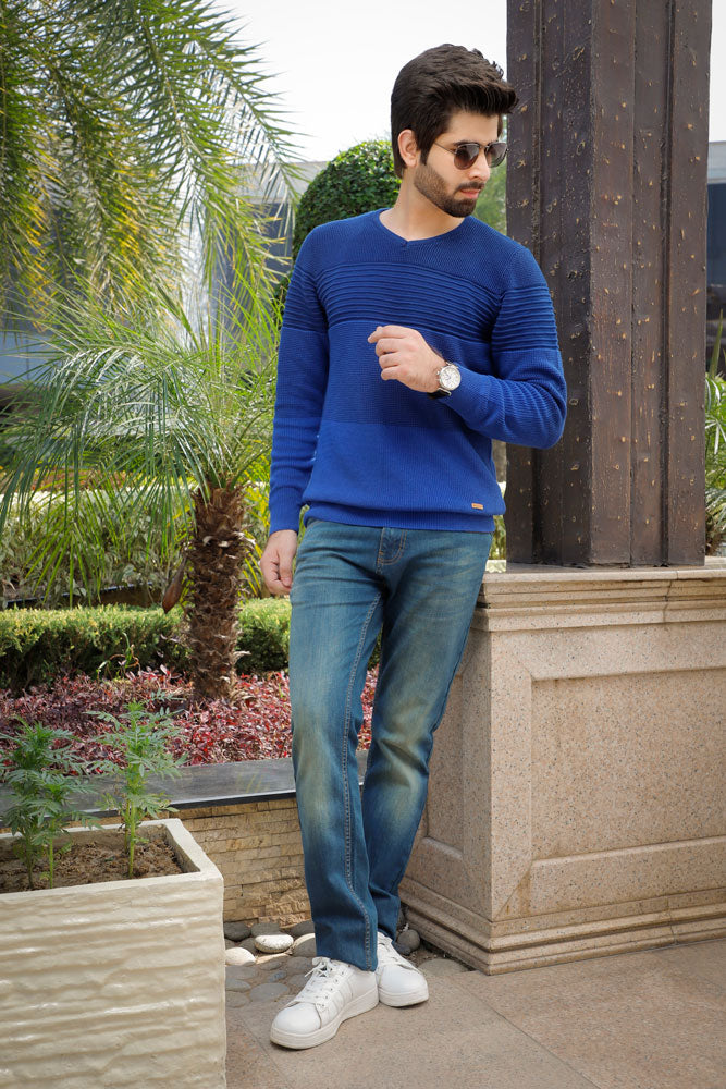 Round Neck Royal Blue Sweater
