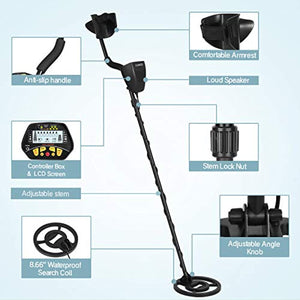 SUNCOO Metal Detector for Kids & Adults - High Accuracy Gold Detector with Waterproof Coil, LCD Display, Adjustable Height, Shovel & Headphone for Outdoor Treasure Hunting Detecting