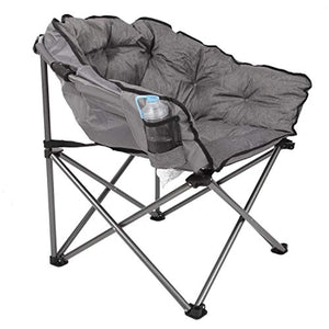 MacSports C932S-129 Padded Cushion Outdoor Folding Lounge Patio Club Chair, Gray