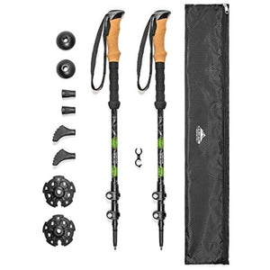Cascade Mountain Tech Aluminum Adjustable Trekking Poles - Lightweight Quick Lock Walking Or Hiking Stick - 1 Set (2 Poles)