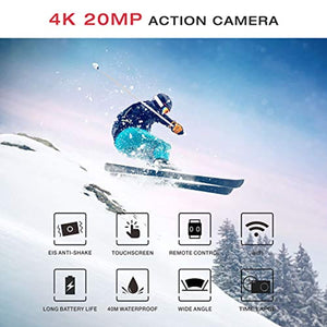 Campark X20 Action Camera Native 4K Ultra HD 20MP with EIS Stablization Touch Screen Remote Control Waterproof Camera 40M 2 Batteries and Professional Accessories Compatible with gopro