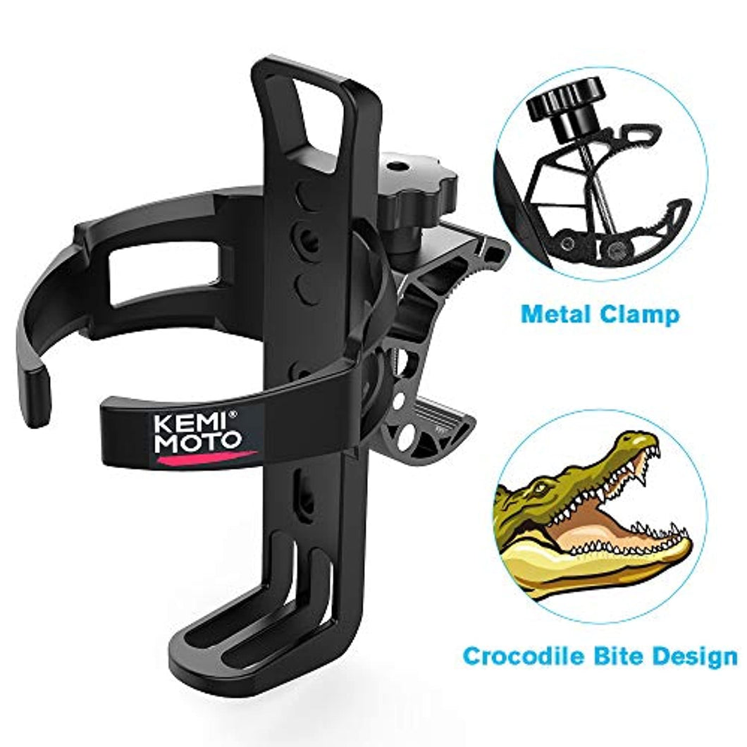 kemimoto ATV Cup Holder Motorcycle Drink Holder Bike Water Bottle Holder with Metal Clamp for ATV, Motorcycle, Bike, Boat, Stroller, Walker, Wheelchair, Scooter, Golf Cart, Desk
