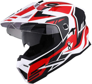 1Storm Dual Sport Motorcycle ATV Motocross Off Road Full Face Helmet Dual Visor Matt Black, Size XL