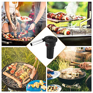 Prettyia Outdoor Cooking BBQ Fan Air Blower for Barbecue Fire Bellows Battery Powered Tool for Picnic Camping Stove Accessories