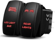 Load image into Gallery viewer, Xislet LED Light Bar Rocker Switches Replace for ATV Polaris Ranger RZR 800-1000 XP Turbo Can Am Commander 800 Maverick X3 Rear Lights UTV Rocker Switch, LED Blue Backlit (Combo Package) (Blue)