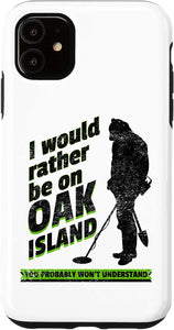 iPhone XR Rather Be On Oak Island Funny Retro Metal Detector Treasure Case