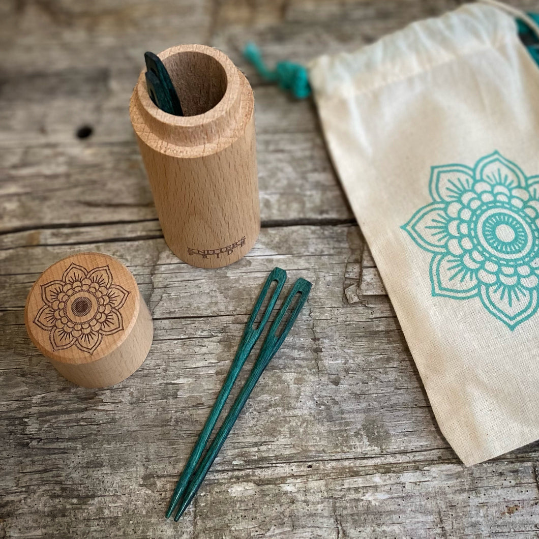 Mindful Teal Wooden Darning Needles in a Beeach Wood Container by Knitter's Pride