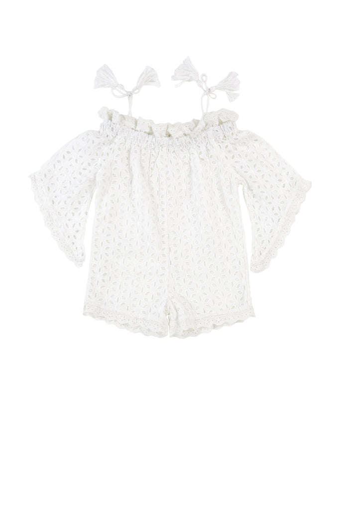 COSSETTE PLAYSUIT - WHITE EYELET