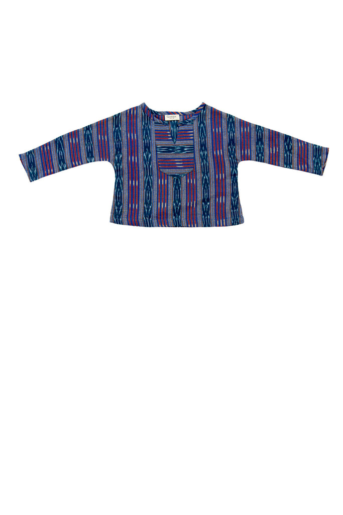 SANTIAGO SHIRT IN TEAL IKAT