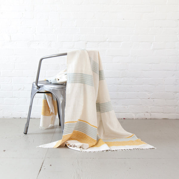 Gold/Azure Camden Beach Blanket/Throw