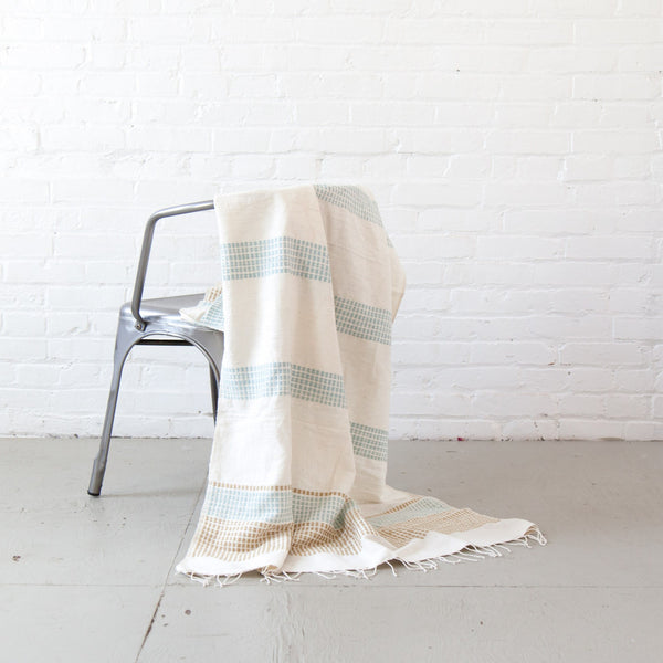Sand/Azure Camden Beach Blanket/Throw