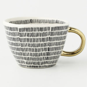 Handmade Creative Ceramic Coffee Mug With Gold Handgrip