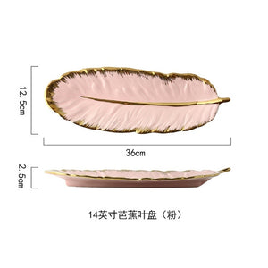Luxury Ceramic Platter Storage Tray with Gold Rim