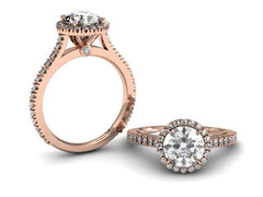 Bostonian Adrainne - Custom Engagement Ring - Rose Gold Pave Setting - Bostonian Jewelers Boston Jewelers Boston Jewelers