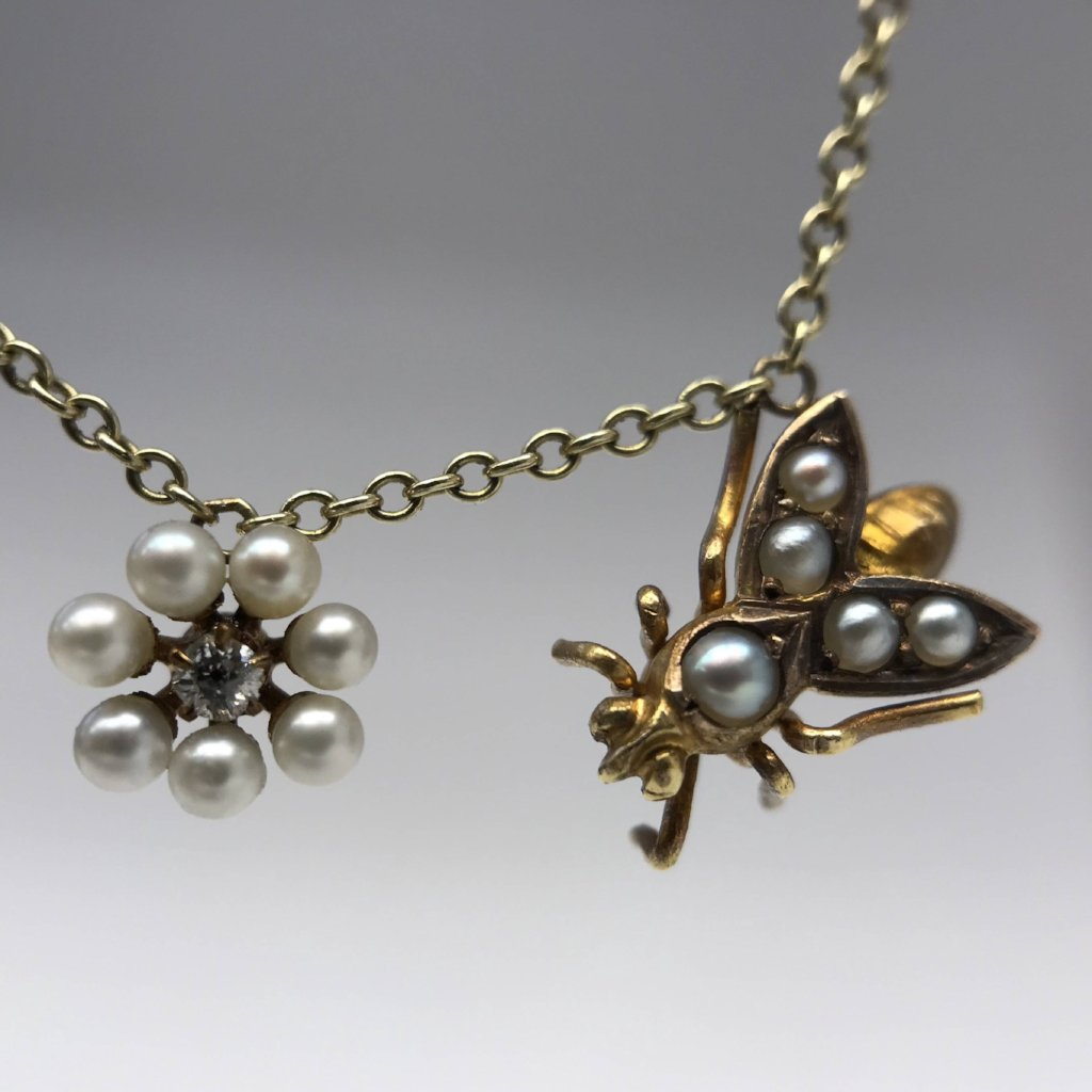 Antique Reclaimed Pearl Diamond Flower and Bee