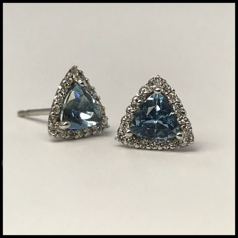 Triangle Aquamarine Earrings