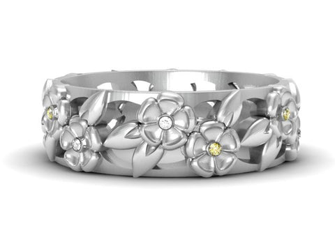 Double Blossom Diamond Band