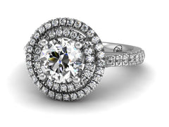 Double Halo Diamond Engagement Ring 1.0 carat Platinum