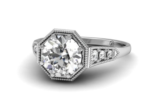 Bostonian Heirloom Vintage Inspired Engagement Ring