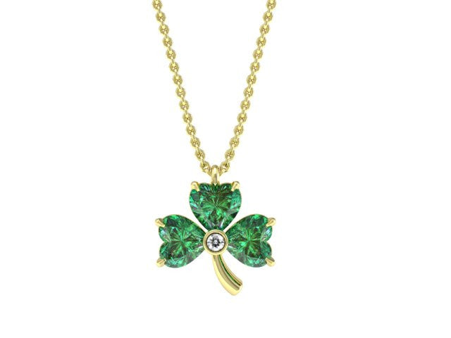 Three Leaf Clover Gemstone Necklace - Custom Design - Bostonian Jewelers