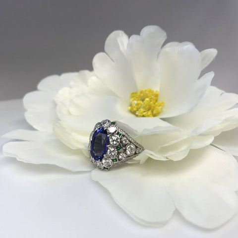 Hand Made Platinum Tanzanite And Diamond Ring Surrounded With Square Tsavorite Green Garnets