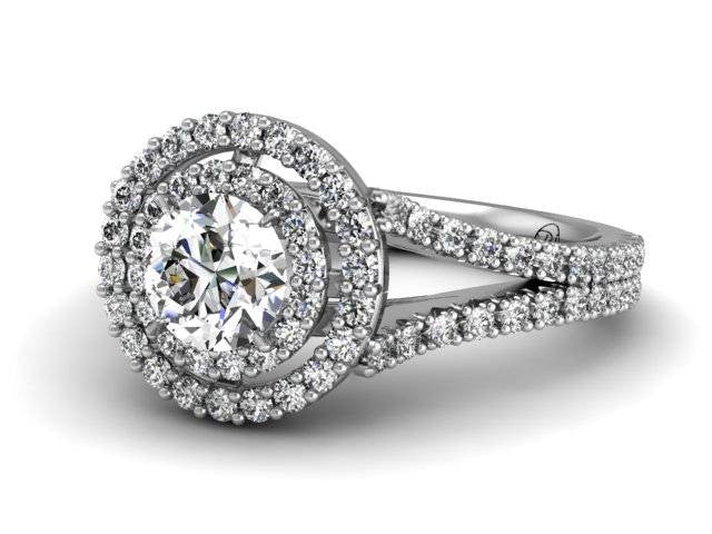 Bostonian Meghan Double Halo Pave Engagement Ring