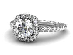 Cushion Halo for Round With A Twisted Band Boston Custom Jewelers