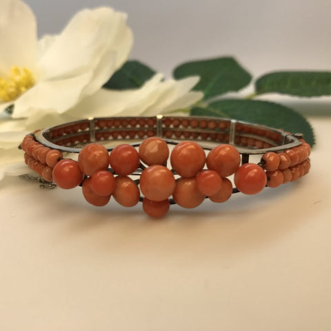 Edwardian Coral Bead Bangle Bracelet