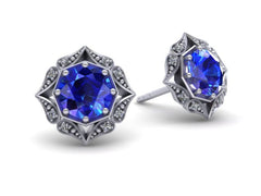 Lila Vintage Inspired Sapphire and Diamond Halo Earrings Platinum Gold