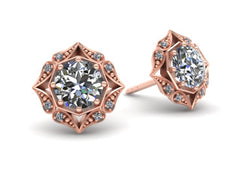 Lila Vintage Inspired Diamond Halo Earrings Rose Gold