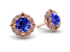 Lila Vintage Inspired Sapphire and Diamond Halo Earrings Rose Gold