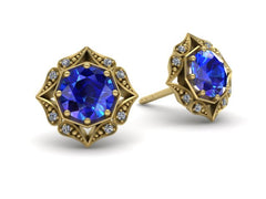 Lila Vintage Inspired Sapphire and Diamond Halo Earrings Yellow Gold