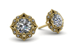 Lila Vintage Inspired Diamond Halo Earrings Yellow Gold