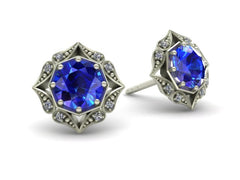 Lila Vintage Inspired Sapphire and Diamond Halo Earrings White Gold